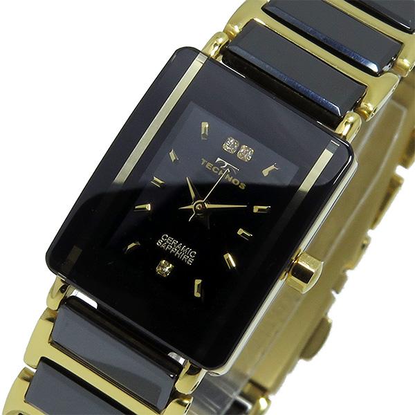 テクノス TECHNOS クオーツ レディース 腕時計 T9796GB ブラック/ゴールド