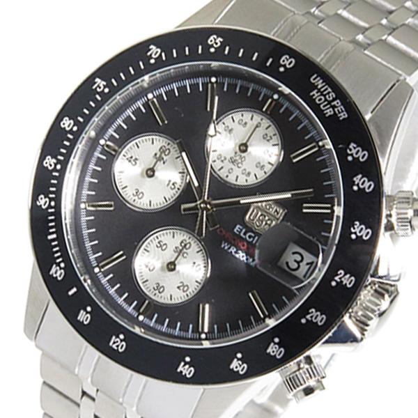 エルジン ELGIN クロノ クオーツ メンズ 腕時計 FK1408S-BN ブラック