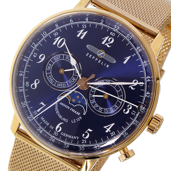 ツェッペリン ZEPPELIN ヒンデンブルク クオーツ メンズ 腕時計 7038M-3 ネイビー/ピンクゴールド【送料無料】