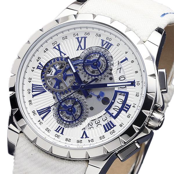 サルバトーレマーラ クロノ クオーツ メンズ 腕時計 SM13119D-SSWHBLWH ホワイト【送料無料】