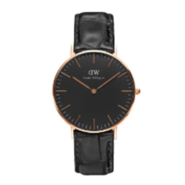 ダニエル ウェリントン クラシック ブラック リーディング/ローズ 36mm ユニセックス 腕時計 DW00100141【送料無料】