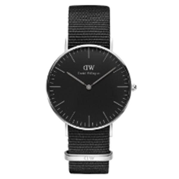 ダニエル ウェリントン クラシック ブラック コーンウォール/シルバー 36mm ユニセックス 腕時計 DW00100151【送料無料】