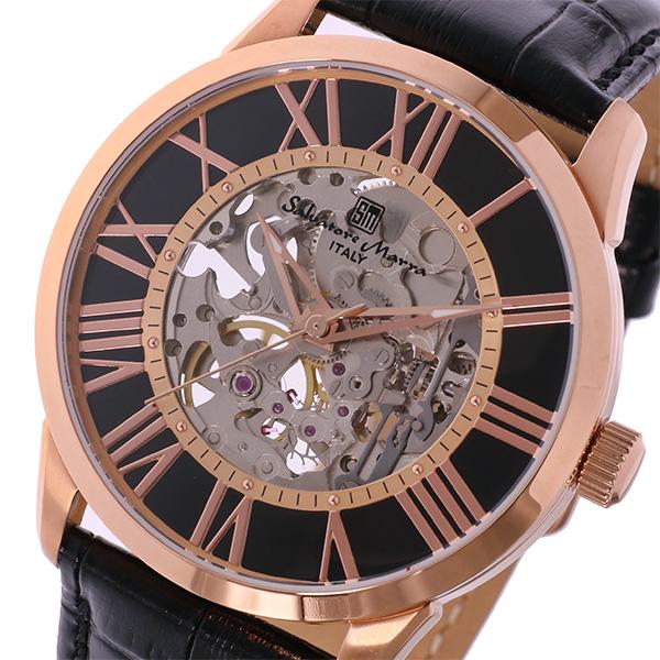 サルバトーレ マーラ 手巻式 メンズ 腕時計 SM16101-PGBK ブラック/ピンクゴールド