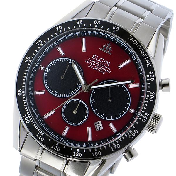 エルジン ELGIN クロノ クオーツ メンズ 腕時計 時計 FK1401S-R レッド