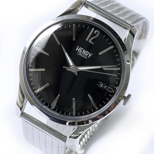 ヘンリーロンドン HENRY LONDON エッジウェア 39mm メッシュ ユニセックス 腕時計 HL39-M-0015 ブラック/シルバー【送料無料】