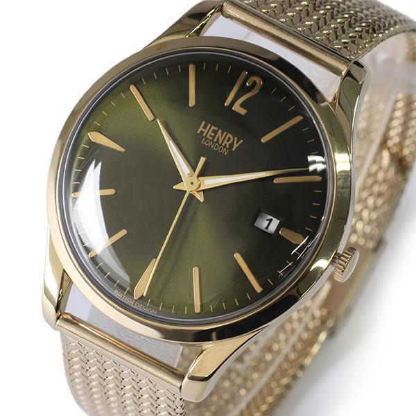 ヘンリーロンドン HENRY LONDON チズウィック 39mm メッシュ ユニセックス 腕時計 HL39-M-0102 グリーン/ゴールド【送料無料】