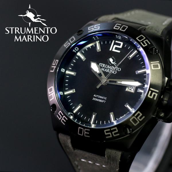ストルメントマリーノ STRUMENTO MARINO ディフェンダー ダイバーズ 自動巻き メンズ 腕時計 SM104-L-BK-NR-NR ブラック【送料無料】