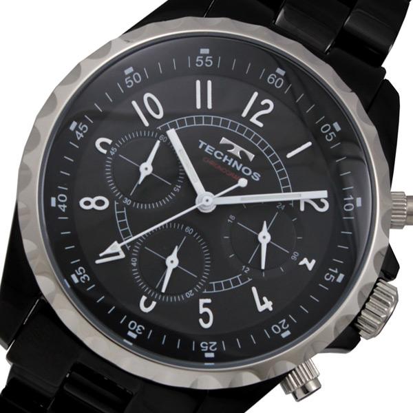 テクノス TECHNOS クロノ クオーツ メンズ 腕時計 時計 T9449BB ブラック【楽ギフ_包装】