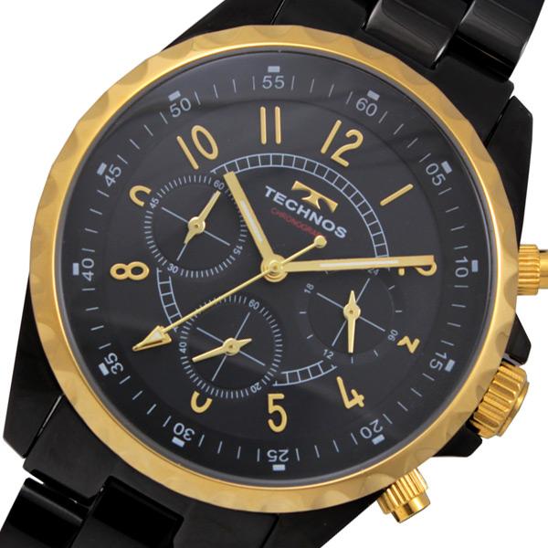 テクノス TECHNOS クロノ クオーツ メンズ 腕時計 時計 T9449BG ブラック×ゴールド【楽ギフ_包装】