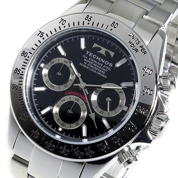 テクノス TECHNOS クロノ クオーツ メンズ 腕時計 TSM401SB ブラック