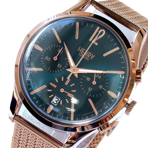 ヘンリーロンドン HENRY LONDON ストラトフォード STRATFORD 39mm クロノ 腕時計 HL39-CM-0142 グリーン【送料無料】