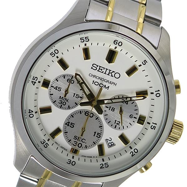 セイコー SEIKO クロノ クオーツ メンズ 腕時計 SKS589P1 ホワイト【】【楽ギフ_包装】