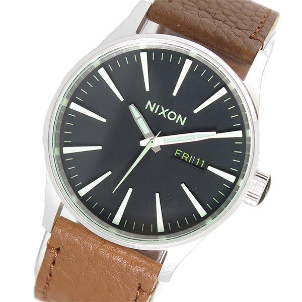 ニクソン NIXON セントリーレザー SENTRY LEATHER クオーツ メンズ 腕時計 A105-1037 ブラック【送料無料】