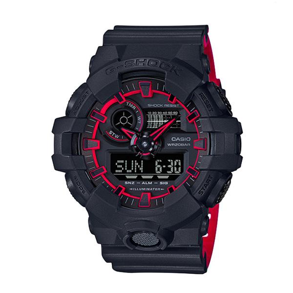 カシオ CASIO Gショック G-SHOCK アナデジコンビ ネオンカラー アナデジ クオーツ メンズ クロノ 腕時計 GA-700SE-1A4 ブラック【送料無料】