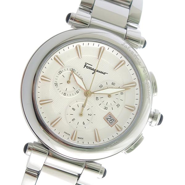 サルヴァトーレ フェラガモ クロノ クオーツ メンズ 腕時計 FCP080017 ホワイト【送料無料】