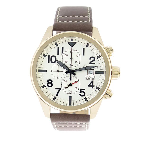 シチズン CITIZEN クロノ クオーツ メンズ 腕時計 AN3623-02A ホワイトシルバー/ブラウン【】【楽ギフ_包装】