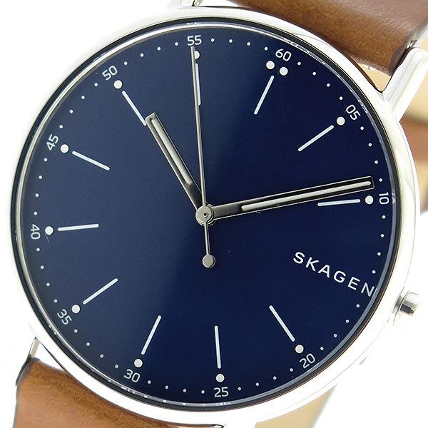 スカーゲン SKAGEN シグネチャー SIGNATUR クオーツ メンズ 腕時計 SKW6355 ネイビー/ブラウン【送料無料】