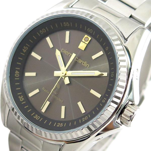 ピエールカルダン PIERRE CARDIN 腕時計 メンズ PC-791 クォーツ ソーラー電波時計 ブラウン シルバー