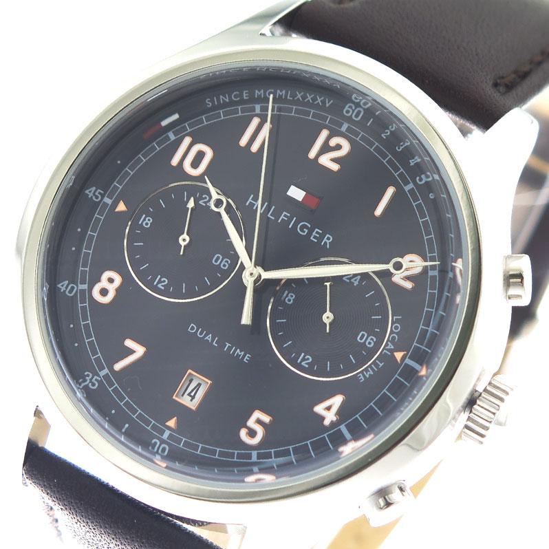トミーヒルフィガー TOMMY HILFIGER 腕時計 メンズ 1791385 ネイビー ダークブラウン【送料無料】