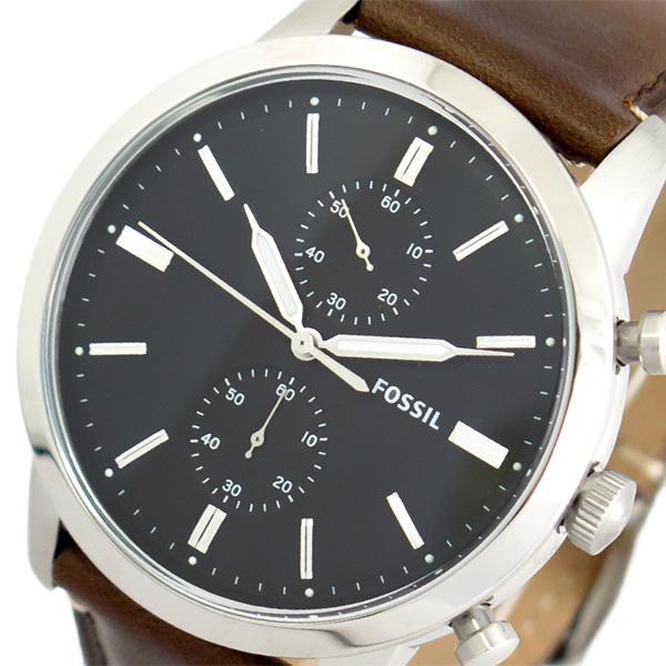 フォッシル FOSSIL 腕時計 メンズ FS5280 クォーツ ブラック ダークブラウン【送料無料】