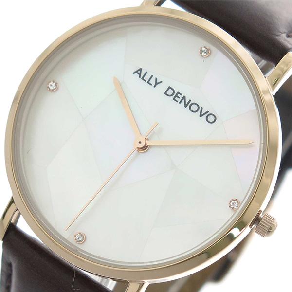 アリーデノヴォ ALLY DENOVO 腕時計 レディース 36mm AF5003-2 GAIA PEARL クォーツ ホワイトシェル ダークブラウン【送料無料】