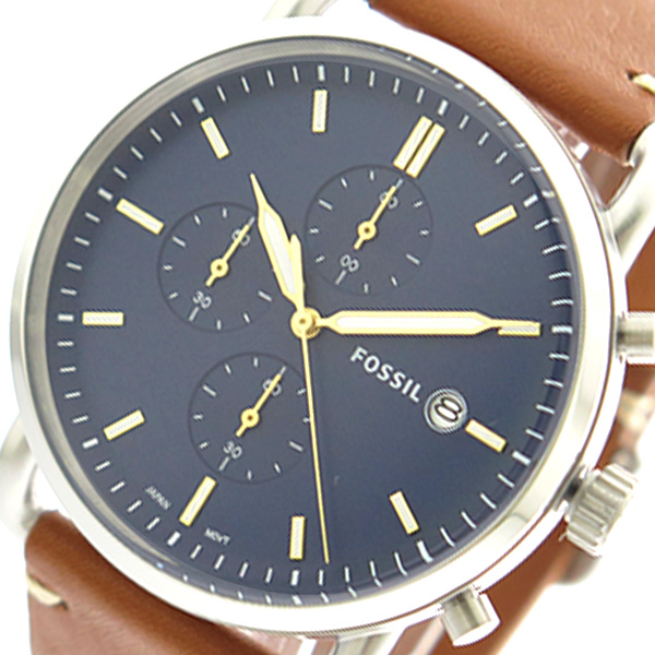 フォッシル FOSSIL 腕時計 メンズ FS5401 クォーツ ネイビー ブラウン【送料無料】