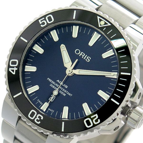 オリス ORIS 腕時計 メンズ 73377304135M アクイス AQUIS 自動巻き ネイビー シルバー【送料無料】