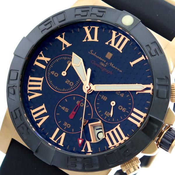 サルバトーレマーラ SALVATORE MARRA 腕時計 時計 メンズ SM18118-PGBL クォーツ ネイビー