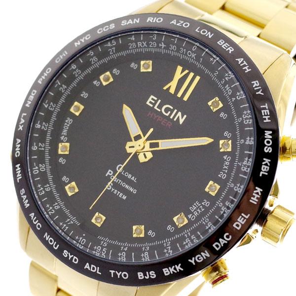 エルジン ELGIN 腕時計 メンズ GPS2002GB-11D GPS衛星電波時計 クォーツ ブラック ゴールド ブラック【送料無料】