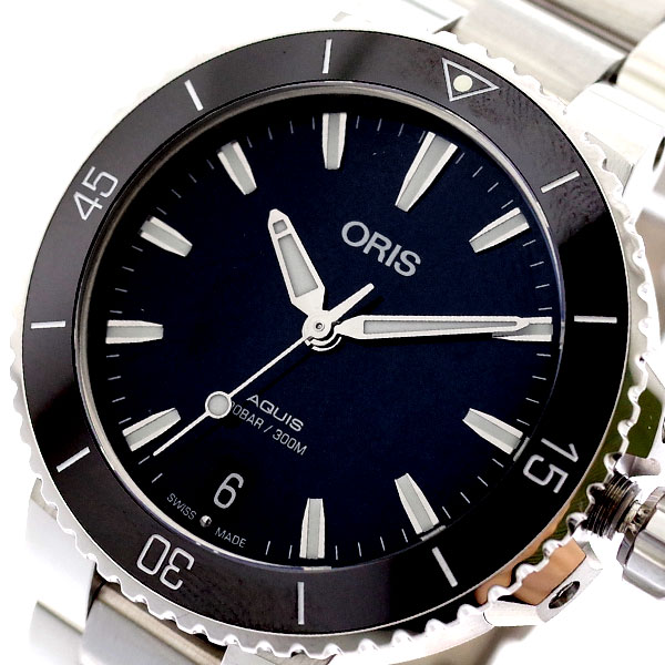 オリス ORIS 腕時計 レディース 73377314154M AQUIS 自動巻き ブラック シルバー ブラック【送料無料】