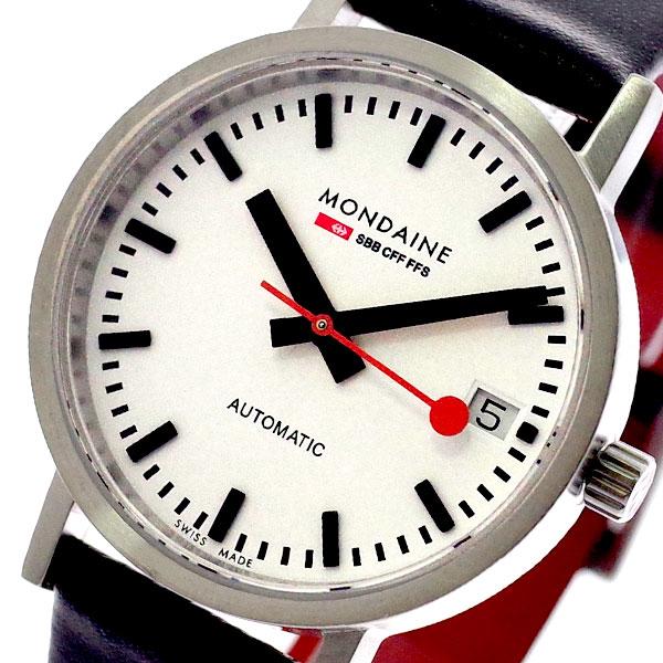 モンディーン MONDAINE 腕時計 レディース A128.30008.16SBB 自動巻き ホワイト ブラック ブラック