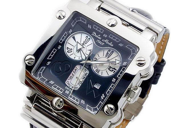 ドルチェメディオ DOLCE MEDIO クオーツ メンズ クロノ 腕時計 DM8018-BK【送料無料】