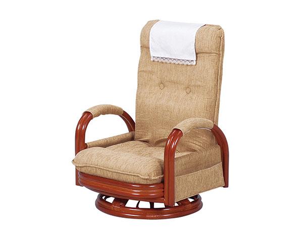 ラタンチェア RATTAN CHAIR ギア回転座椅子ハイバック RZ-972-Hi 【代引不可】【送料無料】