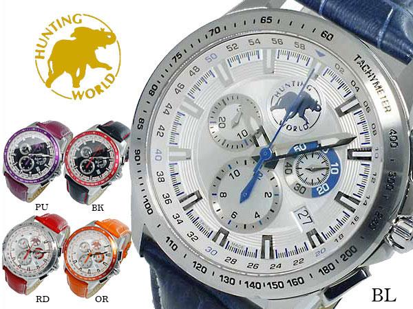 ハンティングワールド HUNTING WORLD マジック クオーツ クロノ メンズ 腕時計 HW402BL【送料無料】