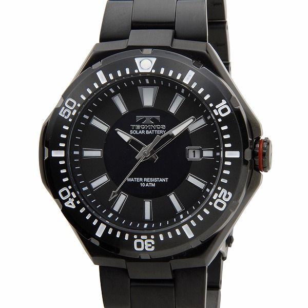 テクノス TECHNOS T2415BB ソーラーバッテリー デイト 10気圧防水 ブラック メンズ 腕時計【送料無料】