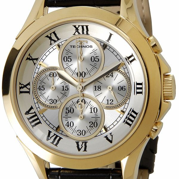 テクノス TECHNOS T4345GS クロノグラフ 24時間計 10気圧防水 クォーツ ゴールド メンズ 腕時計【送料無料】