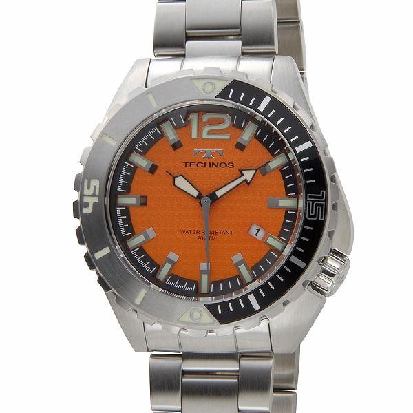 テクノス TECHNOS メンズ 腕時計 T4390SO クオーツ オールステンレス 限定モデル オレンジ【送料無料】