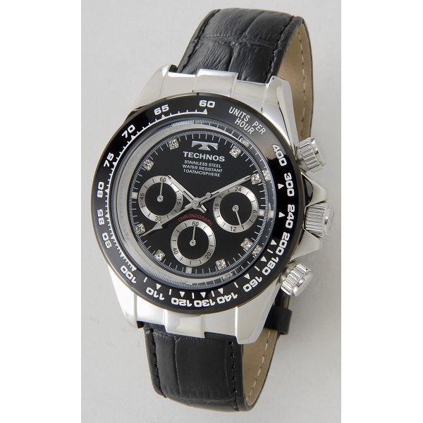 テクノス TECHNOS T4392LT クロノグラフ 24時間計 10気圧防水 ブラック×シルバー メンズ 腕時計【送料無料】