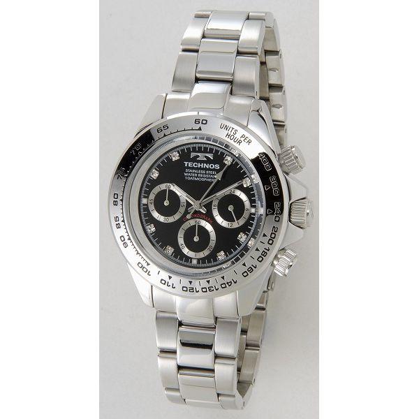 テクノス TECHNOS T4392SB クロノグラフ 24時間計 10気圧防水 ブラック×シルバー メンズ 腕時計【送料無料】