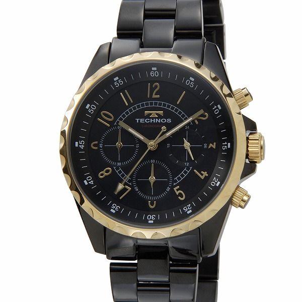 テクノス TECHNOS T9449BG クロノグラフ 24時間計 5気圧防水 ブラック×ゴールド メンズ 腕時計【送料無料】