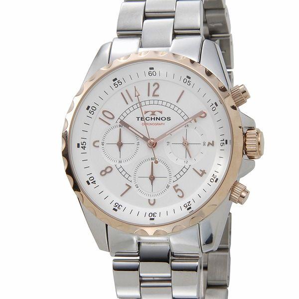 テクノス TECHNOS T9449SP クロノグラフ 24時間計 5気圧防水 シルバー×ピンクゴールド メンズ 腕時計【送料無料】