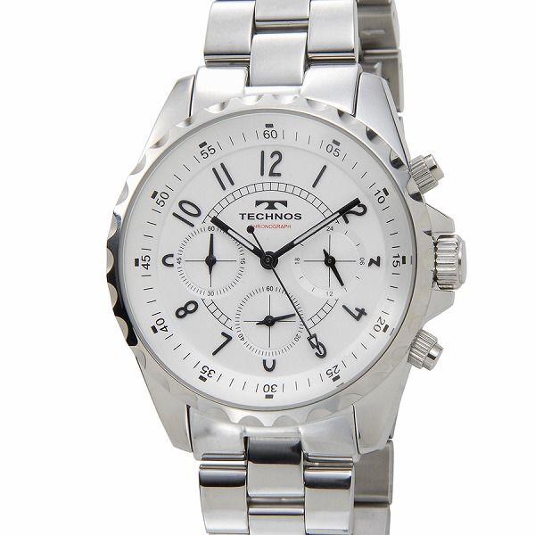 テクノス TECHNOS T9449SW クロノグラフ 24時間計 5気圧防水 シルバー メンズ 腕時計【送料無料】