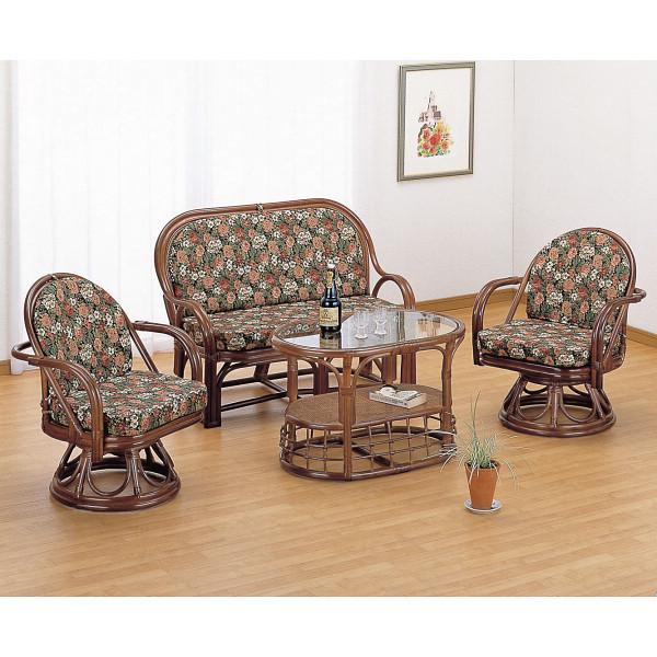 籐リビング4点セット 木製品 家具 籐家具 チェアテーブルセット H27Y1000AB(代引不可)【送料無料】