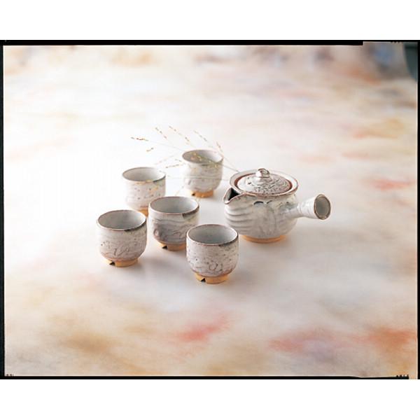 萩焼 白萩 番茶器揃 和陶器 和陶茶器 急須茶器 2‐42(代引不可)【送料無料】