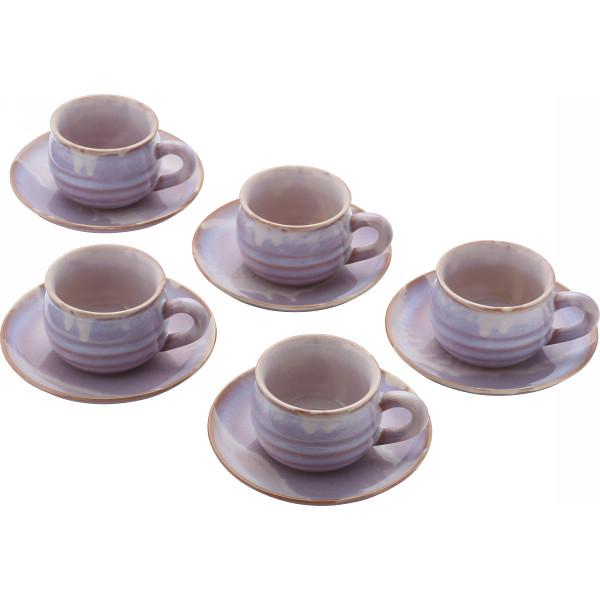 萩焼 萩むらさき 丸珈琲セット 和陶器 和陶コーヒー 5客コーヒー 17405(代引不可)【送料無料】