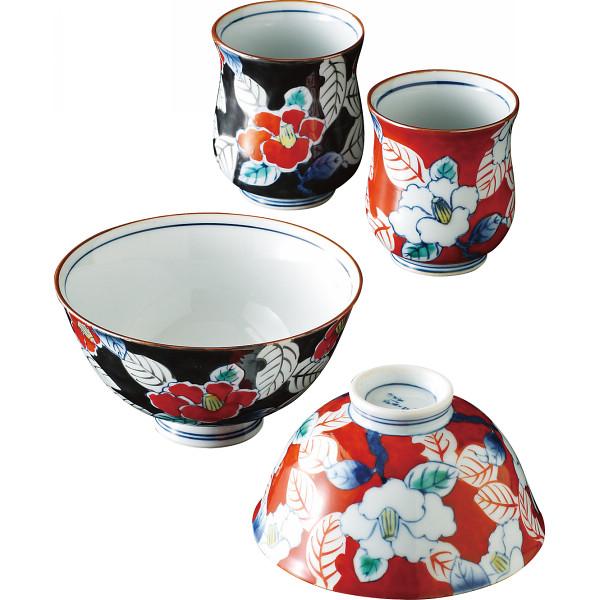伊万里焼 色彩山茶花 睦揃 和陶器 和陶茶碗 茶碗 湯呑みセット TG08-02(代引不可)【送料無料】