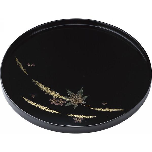 輪島塗 金箔春秋 丸盆 黒 漆器 漆器盆 木製丸盆 23012(代引不可)【送料無料】