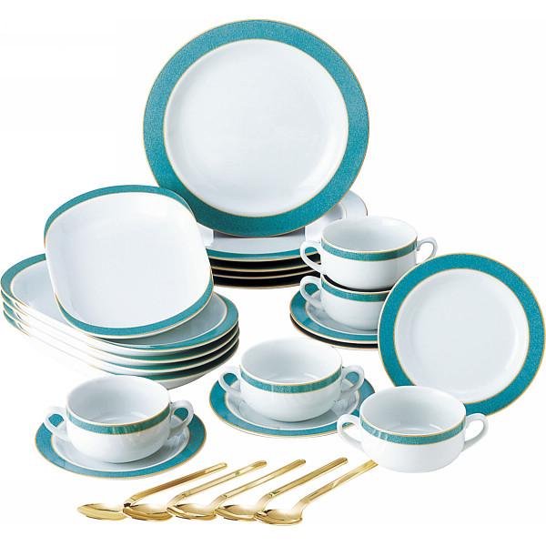 MR.BOSS エメラルドグリーン 25ピースホームセット 洋陶器 洋陶皿 洋皿 雑貨セット SYA‐063(代引不可)【送料無料】