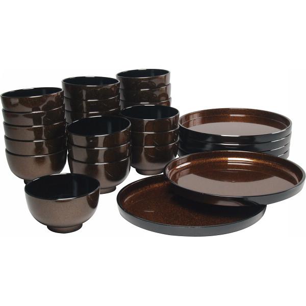 ラメ塗 汁椀22客 丸盆6枚セット 漆器 漆器椀 樹脂製汁椀 G23-97(代引不可)【送料無料】