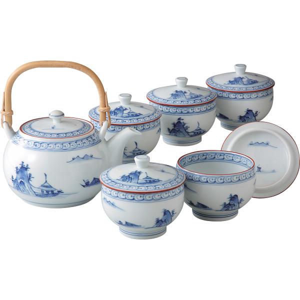 京山水絵 番茶器揃 和陶器 和陶茶器 蓋付土瓶茶器 TG10-04(代引不可)【送料無料】